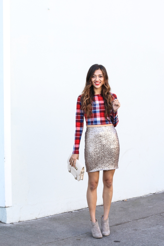 Jyotsna Cuppajyo Fashion Blogger San Francisco Holiday Looks Glitter Skirt Plaid Top Photography by Ryan Chua