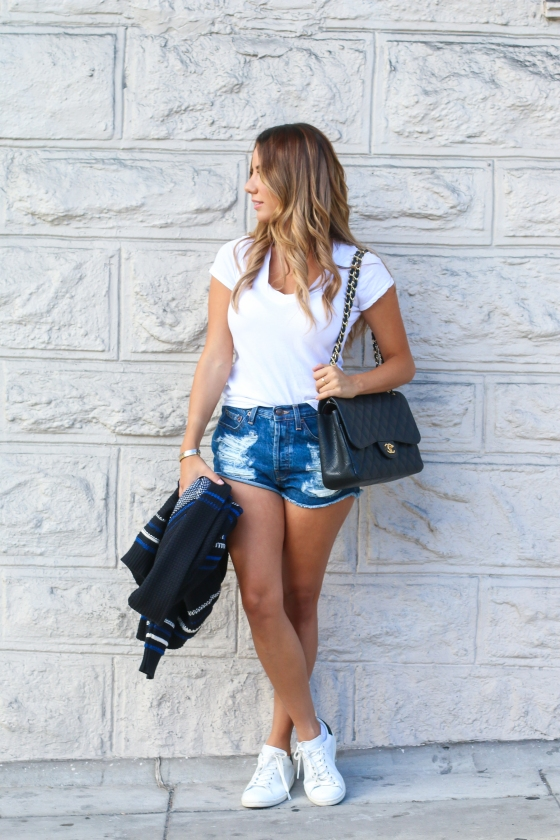 Ariana Lauren White Tee Denim Shorts-2903