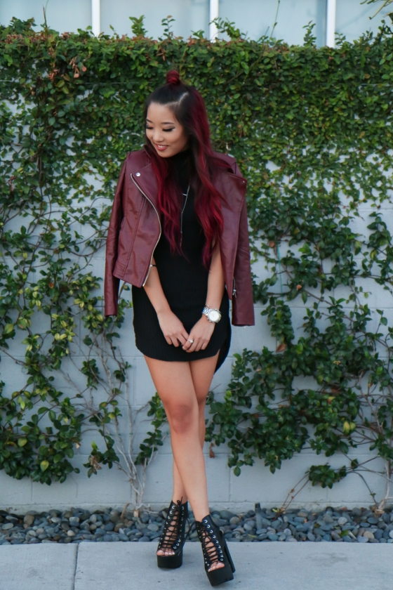 Christine Kkarmalove Black Dress Oxblood Jacket Los Angeles Fashion Blogger by RyanbyRyanChua-6038