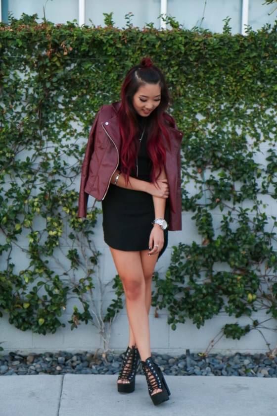 Christine Kkarmalove Black Dress Oxblood Jacket Los Angeles Fashion Blogger by RyanbyRyanChua-6042