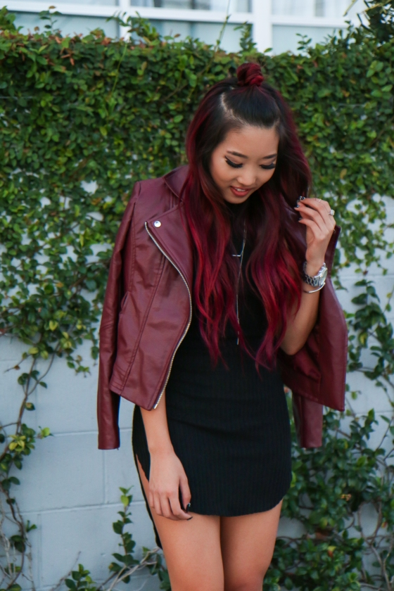 Christine Kkarmalove Black Dress Oxblood Jacket Los Angeles Fashion Blogger by RyanbyRyanChua-6067