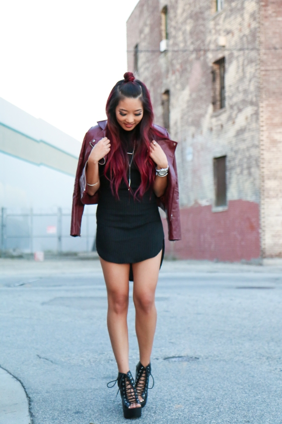 Christine Kkarmalove Black Dress Oxblood Jacket Los Angeles Fashion Blogger by RyanbyRyanChua-6097