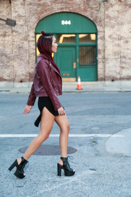 Christine Kkarmalove Black Dress Oxblood Jacket Los Angeles Fashion Blogger by RyanbyRyanChua-6161