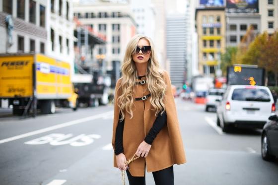 Stephanie Danielle Black Leggings Brown Cape-5561