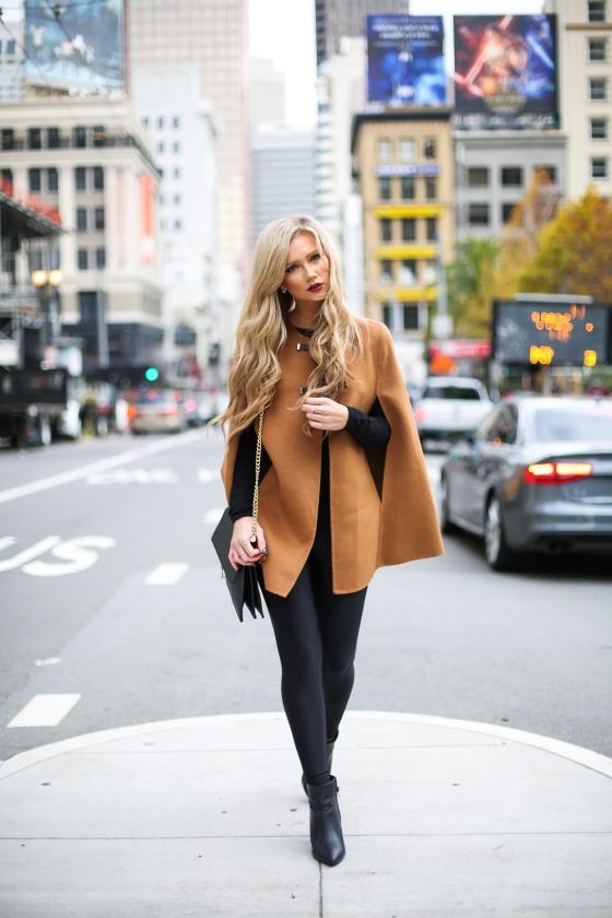 Stephanie Danielle Black Leggings Brown Cape-5598